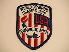 Vintage 1972 World Olympus Champs Snowmobile Race Ironwood, Mich. Patch