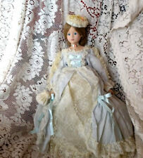 Franklin Mint Gibson Girl Doll With Cameo Blue And White Lace Dress Coa