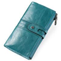 Women's Genuine Leather Wallet ID Card Holder Long Bifold Purse Clutch Handbag