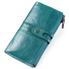 Women's Genuine Leather Wallet ID Card Holder Long Bifold Purse Clutch Handbag