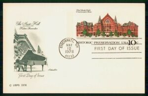 Mayfairstamps US FDC 1978 Music Hall Cincinnati Piano First Day Card wwk_61789