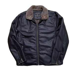 Mint XL True Grit Brown Distressed Look Sherpa Lined Brown Poly Bomber