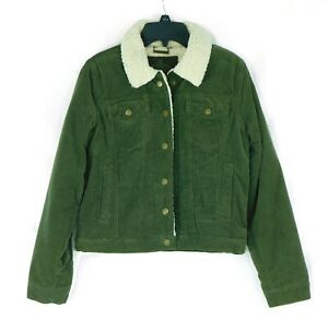 Jou Jou Girls Boys Outerwear Olive Green Size Large L Sherpa Corduroy Jacket $30