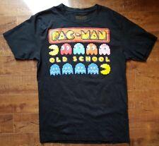 PAC-MAN Old School Video Game T-Shirt Black Graphic Print Crewneck Sz Medium