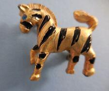 Vintage Zebra Pin Gold Tone Black Stripes Blue Rhinestone Eyes