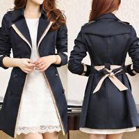 Women's Slim Parka Overcoat Windbreaker Jacket Double Breasted Coat Outwear Coat