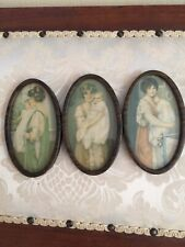Antique Oval Metal Triple Frame Pictures Of Mother And Babies
