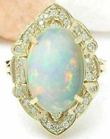 2Ct Oval Cut Fire Opal Diamond Halo Women's Engagement Ring 14K Yellow Gold Over