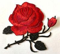 Rote Rose Aufnäher / Blumen Aufbügler Bügelbild Blume Applikation flower patch