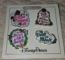 Disney Pins 4 Princess Quotes Set Ariel, Aurora, Belle & Cinderella FREE SHIP