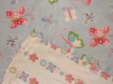 "POTTERY BARN KIDS Butterfly DUVET COVER  34"" x 51"" Ruffled  BLUE Pink WHITE"