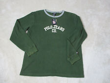 NEW VINTAGE Ralph Lauren Polo Jeans Thermal Shirt Adult Medium Green Spell Out S