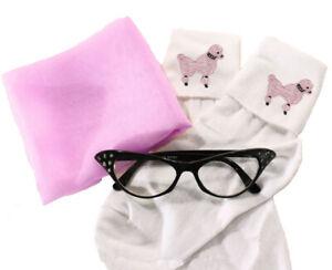 50s Sock Hop Accessory Set - Pink Poodle Socks, Chiffon Scarf & Cat Eye Glasses