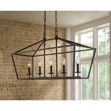 Chandelier Single Tier Adjustable Hanging Length Hardwired Bronze
