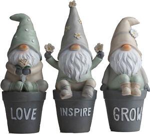 Set Of 3 Flower Pot 20cm Gonk Garden Gnome Ornaments