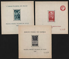 OPC 1945 Camp Post for Polish citizens in Italy 3 Sheet Set MNH