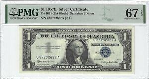Fr.1621 1957B $1 Silver Certificate Granahan/Dillon, UA Block, PMG 67EPQ SUPERB