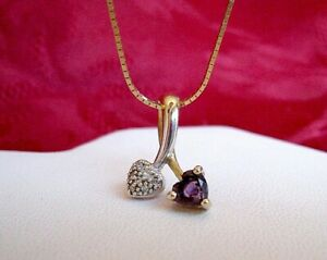 """10K TWO-TONED GOLD DIAMOND & HEART SHAPED AMETHYST PENDANT NECKLACE 15.5"""" LONG"""