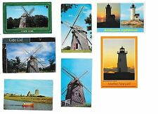 7 Vintage Postcards Windmills Cape Cod Lighthouses Massachusetts 1940s to 1970s