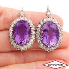 Antique Diamond 23.50ct Amethyst 14K Gold Silver Large Earrings 14.3 Grams NR