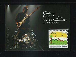 Malta - Sting / Stampin' the Future Souvenir Sheet MNH