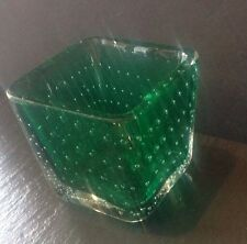 Vintage Murano Green Vase Candle Holder Dish Controlled Bubble MCM