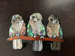 Handmade Genuine Tropical Abalone Shell Hair Barrette Triple Owls