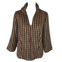 Chico's Size 2 Metallic Plaid Tweed Blazer Jacket Red Black Gold NWT