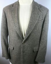 Orvis Tweed Blazer/Sport Coat Size 42 Long Glen Check Plaid Tan/Gray Made in USA