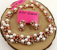 Pendant Jewelry Betsey Johnson enamel Rhinestone color pearl Charm necklace Set