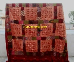 Indian Ajrak Kantha Quilt Vintage Throw Patchwork Bedspread Cotton Blanket Vh-6