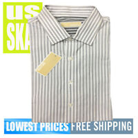 Michael Kors Men's NWT 17 34/35 Grey Stripe Long Sleeve Button Front Shirt