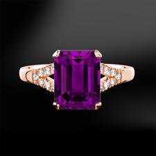 2Ct Emerald Cut Purple Amethyst Split Band Engagement Ring 14K Rose Gold Finish