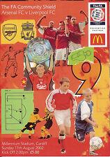 Arsenal vLiverpool 11 Aug 2002 FA COMMUNITY SHIELD in CARDIFF FOOTBALL PROG