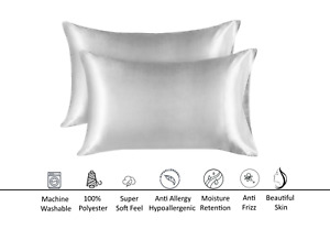 TwoPack Satin Pillowcases for Hair Skin and Facial Care, Silky Satin, Frizz Free