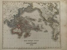 1849 PACIFIC OCEAN & AUSTRALIA ANTIQUE HAND COLOURED MAP BY JOSEPH MEYER