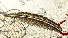Pluma Encanto Antiguo Bronce Estilo Vintage joyas encanto colgante suministra C75