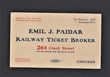 Trade Card for Emil J. Paidar Chicago Railway Ticket Broker 264 Clark Street