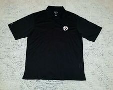 be27171c7 Pittsburgh Steelers Antigua Embroidered Black Polo Golf Shirt Performance  Large