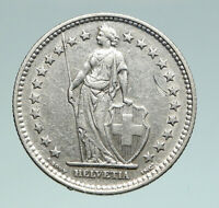 1940 SWITZERLAND -  HELVETIA Symbolizes SWISS Nation SILVER 2 Francs Coin i91002