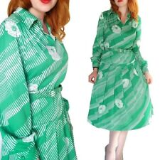 Vtg 1970's Henry Lee Belted Drop Waist Dress Geometric Polyester Green Floral L