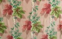 True Vintage Deco Tropical Print 1940s Barkcloth Leafy Vine Upholstery Panel