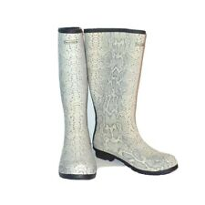 Bearpaw Womens Shoes Rubber Snakeskin Natural Constance Rain Boots 10