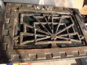 """1-VINTAGE SYMONDS ART DECO CAST IRON REGISTER VENT GRATE 14"""" x 10"""""""