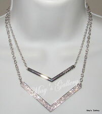 GUESS Jeans Rhinestone  Necklace Necklaces Pendant Logo  Charms Silver Tone NWT