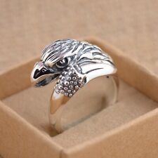 Solid 925 Sterling Silver Mens Eagle Head Ring Open Adjustable Size