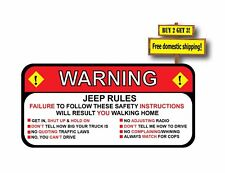 Jeep Rules Warning Sticker Funny Safety Instructions Decal/Sticker 2.5x5.5  p27