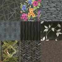 Modern Assorted Black Geo Trellis Tile Stripes 10m Wallpaper