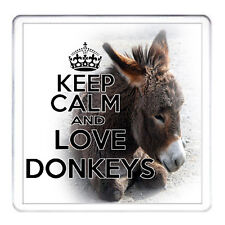 KEEP CALM AND LOVE DONKEYS , Donkey Gift Coaster. Matching Mug Available