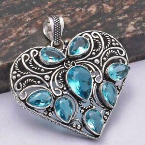 "Blue Topaz Ethnic Handmade Pendant Jewelry 2.2"" AP 31656"